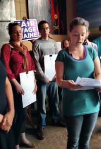 Tabatha Whalen, a low-wage worker, speaks at the signature launch.