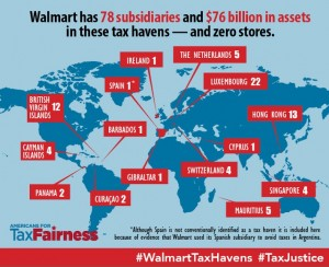 A map of Walmart's subsidiaries in known tax havens (click to enlarge).
