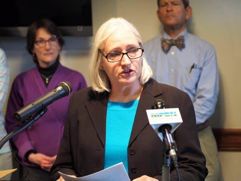 Maine Small Business Coalition board member Bettyann Sheats, speaking in Augusta
