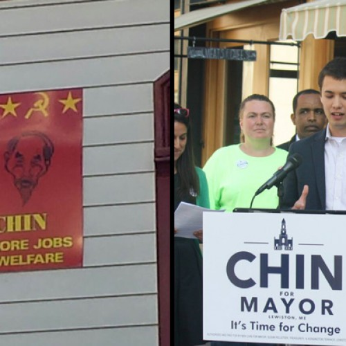 Racist signs target mayoral candidate Ben Chin in Lewiston