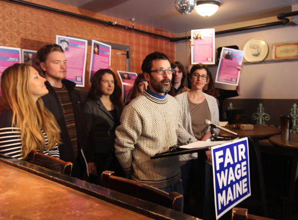 Vena's Fizz House owner Steve Corman speaks in favor of the minimum wage referendum.