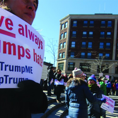 Love trumps hate as Mainers protest candidate's visit to Portland