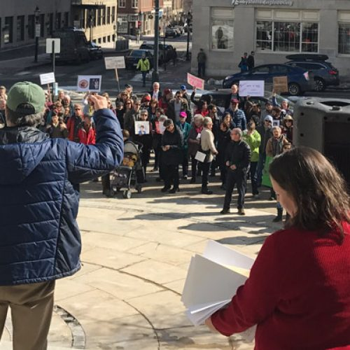 Wave of protests greet Sen. Collins as she returns to Maine