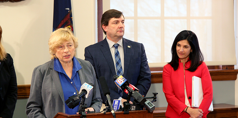 Photo: Governor Janet Mills, Senate President Troy Jackson and House Speaker Sara Gideon at a press conference at the State House. | Dan Neumann, Beacon